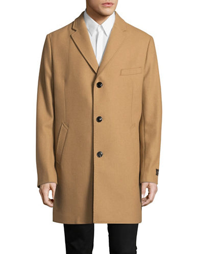 Black Brown 1826 Wool-blend Single-Breasted Overcoat-BEIGE-46 Regular