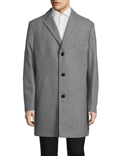Black Brown 1826 Wool-Blend Single-Breasted Overcoat-SILVER-44 Tall