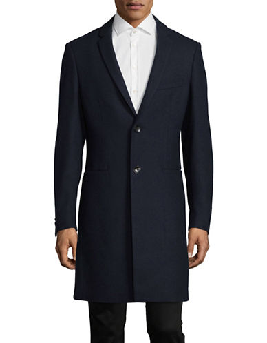 1670 Slim-Fit Wool-Blend Topcoat-NAVY-44 Tall