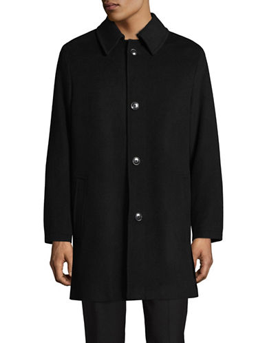 London Fog Point Collar Wool-Blend Overcoat-BLACK-46