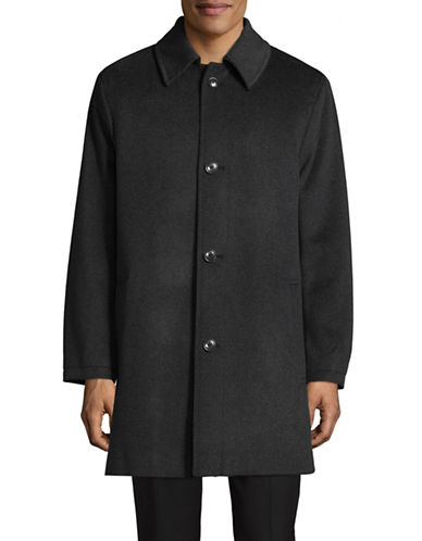 London Fog Point Collar Wool-Blend Overcoat-GREY-40