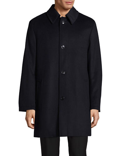 London Fog Point Collar Wool-Blend Overcoat-BLUE-36