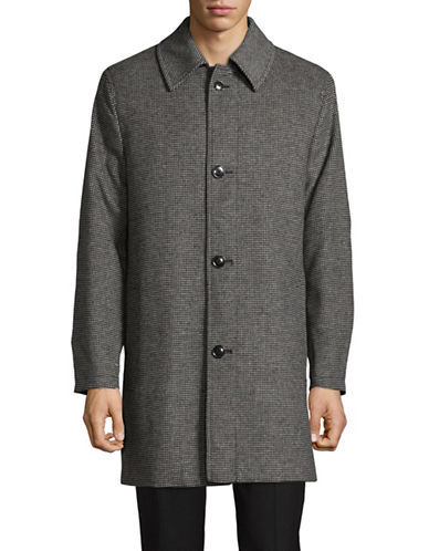 London Fog Point Collar Houndstooth Wool-Blend Overcoat-GREY-40