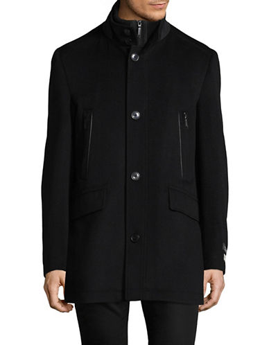 London Fog Wool-Cashmere Overcoat-BLACK-44 Regular
