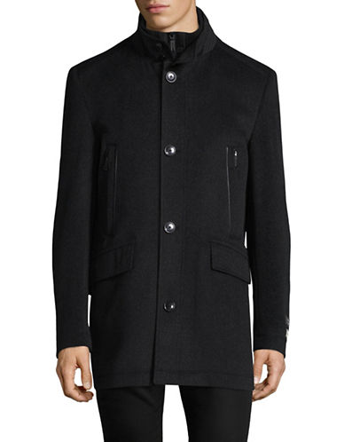 London Fog Wool-Cashmere Overcoat-CHARCOAL-42 Regular
