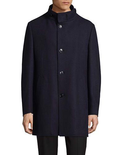 London Fog Luca Wool-Blend Knit Overcoat-NAVY-46 Tall