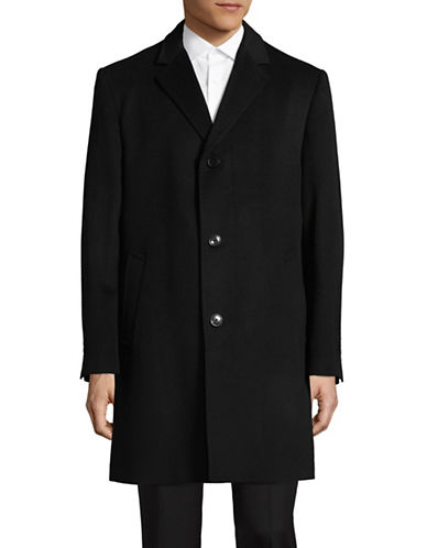London Fog Wool-Cashmere Overcoat-BLACK-42 Tall