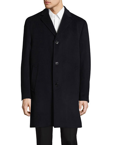 London Fog Wool-Cashmere Overcoat-BLUE-44 Tall