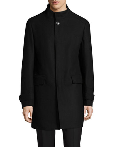 London Fog Wool-Blend Overcoat-BLACK-44 Tall
