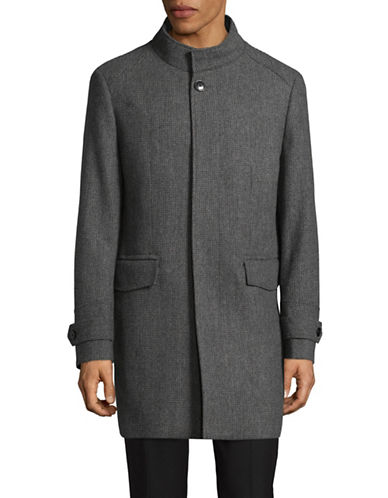 London Fog Wool-Blend Overcoat-GREY-44 Tall