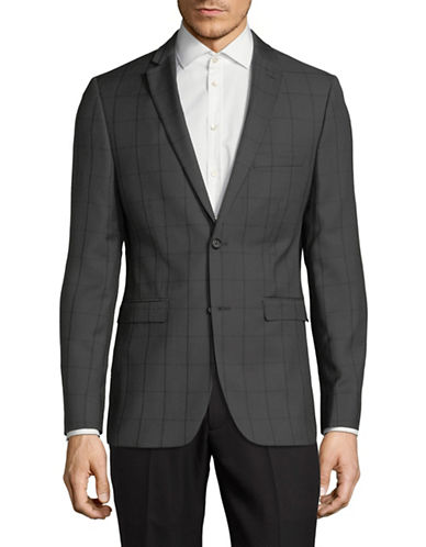 1670 Windowpane Suit Jacket-GREY-38 Short