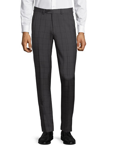 1670 Windowpane Dress Pants-GREY-34X36