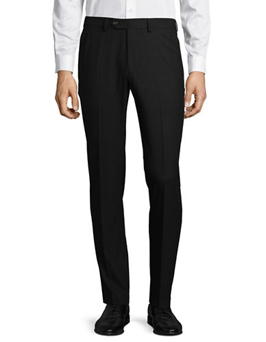 1670 Flat Front Dress Pants-BLACK-36X32