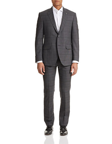 Coppley Tonal Grid Wool Suit-GREY-40