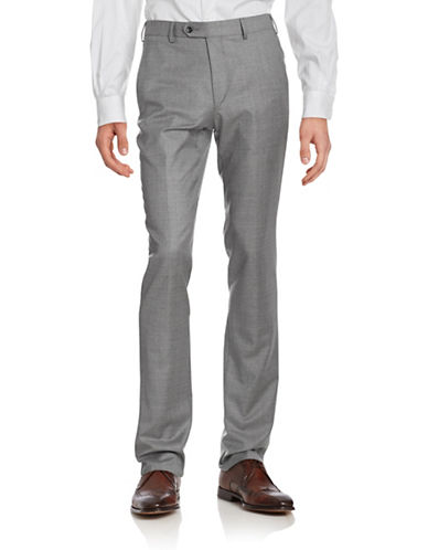 Coppley Solid Wool Pants-LIGHT GREY-38