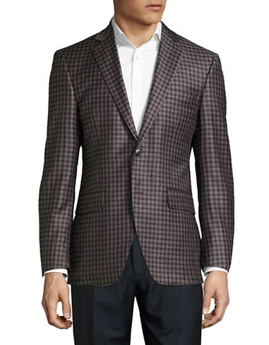 Coppley Esquire Check Super 130s Wool Blazer-BLUE/BURGUNDY-38 Regular