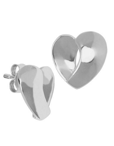 ELLE Sterling Silver Open Heart Stud Earrings sterling silver