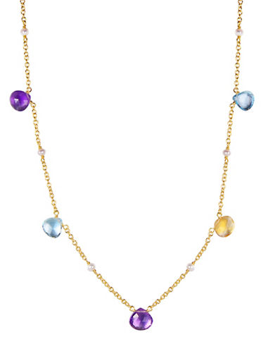 Piara Blue Topaz, Citrine and Amethyst Droplet Necklace-MULTI-One Size