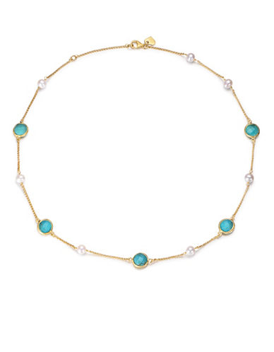 Piara 6mm Freshwater Pearls and Turquoise Station Necklace-BLUE-One Size