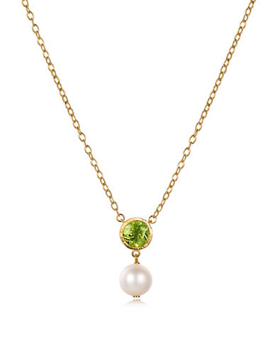 Piara 8MM White Freshwater Pearl and Peridot Pendant Necklace-GREEN-One Size