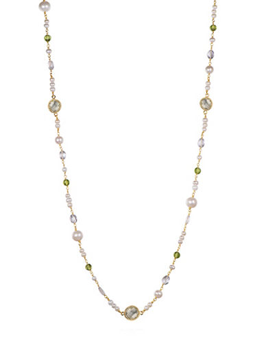 Piara 3-8mm White Freshwater Pearls  Peridot and Green Amethyst Station Necklace-GREEN-One Size