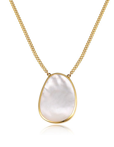 Piara Goldplated Sterling Silver and Mother of Pearl Pendant Necklace-WHITE-One Size