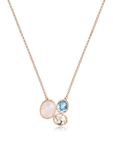 Piara Rose Goldplated Sterling Silver Moonstone, Amethyst, and Topaz Cluster Pendant Necklace-MULTI-One Size