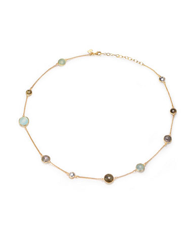 Piara Goldplated Sterling Silver Aqua Chalcedony, Quartz, and Labradorite Station Necklace-MULTI-One Size