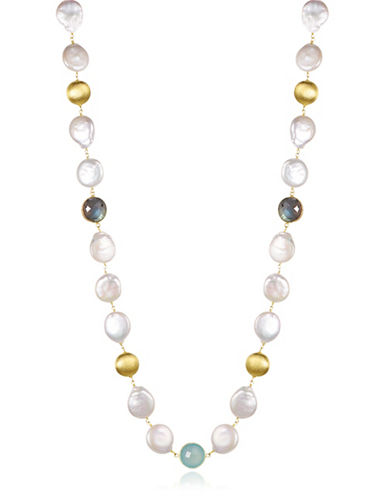 Piara 12-13mm White Freshwater Pearls, Labradorite and Aqua Chalcedony Necklace-MULTI-One Size