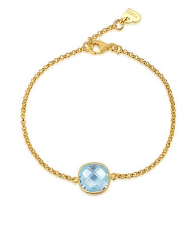 Piara Goldplated Sterling Silver and Topaz Bracelet-BLUE-One Size