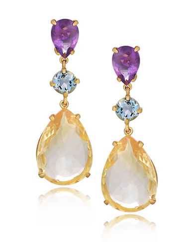 Piara Goldplated Sterling Silver Citrine, Amethyst, and Topaz Pear Drop Earrings-MULTI-One Size