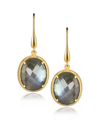 Piara Goldplated Sterling Silver and Labradorite Drop Earrings-GREEN-One Size