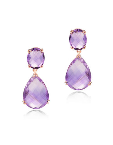 Piara Amethyst Pear Drop Earrings-PURPLE-One Size