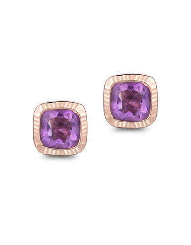 Piara Amethyst Hammered Stud Earrings-PURPLE-One Size