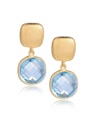 Piara Goldplated Sterling Silver and Topaz Drop Earrings-BLUE-One Size