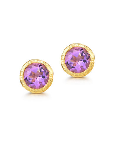 Piara Goldplated Sterling Silver and Amethyst Stud Earrings-PURPLE-One Size