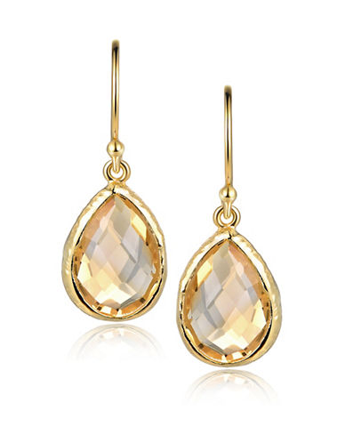 Piara Goldplated Sterling Silver and Citrine Pear Drop Earrings-YELLOW-One Size
