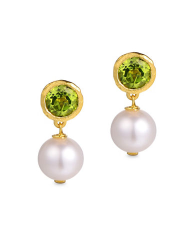 Piara 8MM White Freshwater Pearl and Peridot Drop Earrings-GREEN-One Size