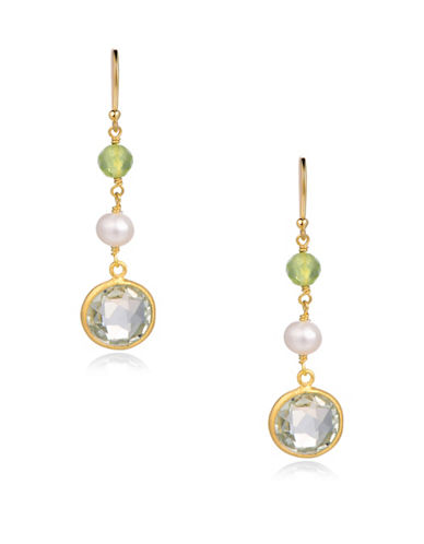 Piara 5mm White Freshwater Pearls, Peridot and Green Amethyst Drop Earrings-GREEN-One Size