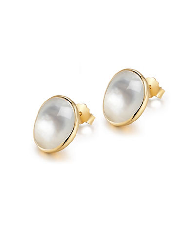 Piara Goldplated Sterling Silver and Mother of Pearl Stud Earrings-WHITE-One Size
