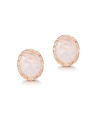 Piara Rose Goldplated Sterling Silver and Moonstone Stud Earrings-WHITE-One Size