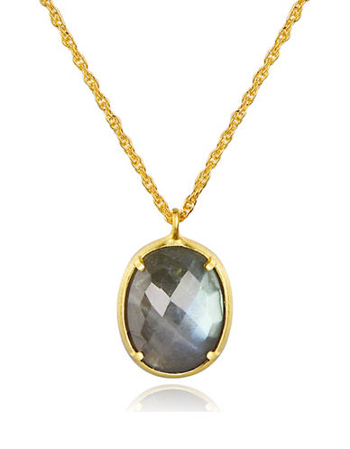 Piara Goldplated Sterling Silver and Labradorite Pendant Necklace-GREEN-One Size
