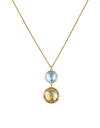 Piara Goldplated Sterling Silver Blue Topaz and Citrine Double Drop Necklace-MULTI-One Size