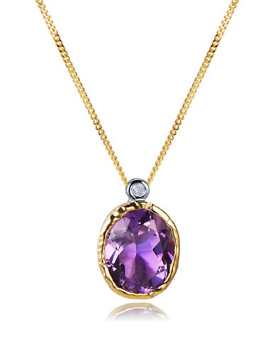 Piara Handmade Amethyst and 0.03 TCW Diamond 18K Yellow Goldplated Oval Pendant Necklace-PURPLE-One Size