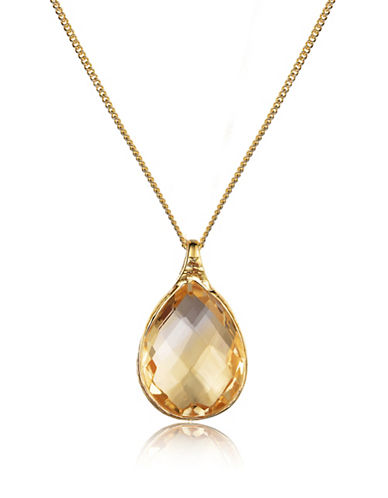 Piara Goldplated Sterling Silver and Citrine Pear Pendant Necklace-YELLOW-One Size