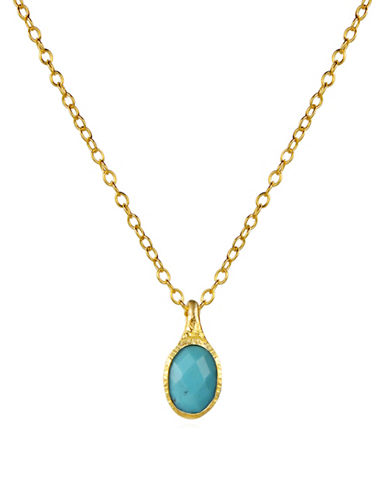Piara Turquoise Oval Pendant Necklace-BLUE-One Size