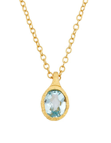 Piara Goldplated Sterling Silver and Blue Topaz Oval Pendant Necklace-BLUE-One Size