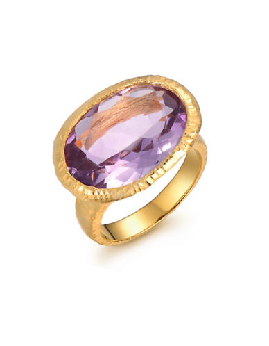 Piara Genuine Amethyst Sterling Silver and 18K Yellow Goldplated Oval Cocktail Ring-PURPLE-6