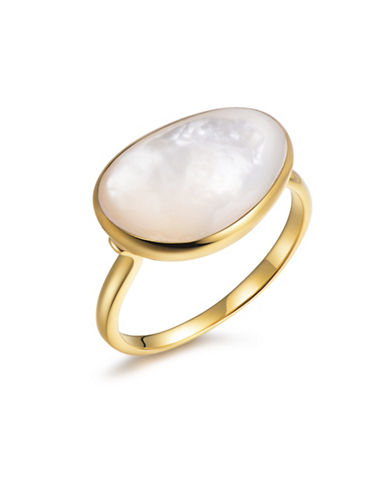 Piara Genuine White Mother of Pearl Sterling Silver and 18K Yellow Gold Solitaire Ring-WHITE-6