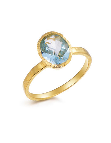 Piara Genuine Blue Topaz Sterling Silver and 18K Yellow Gold Oval Solitaire Ring-BLUE-8